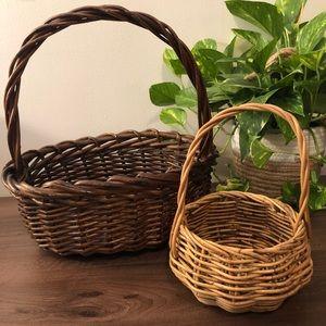 2 Vintage Wicker Style Baskets
